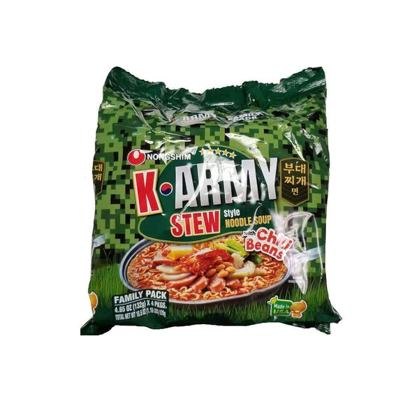 K-Army Stew Ramen with Chilli Beans 4 Pack - Grace Market