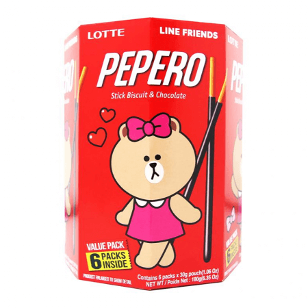 Lotte Pepero Stick Biscuit & Chocolate - 6 Pack