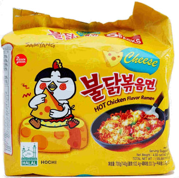 Samyang Stir-Fried Noodle Hot Spicy Chicken Cheese Flavor Ramen - 5 pack