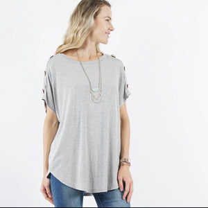 Gray 42pops Shoulder Button Tunic