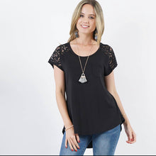 Load image into Gallery viewer, Black 42pops Lace Sleeve Tunic