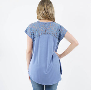 Blue 42pops Lace Sleeve Tunic - OodlesCB