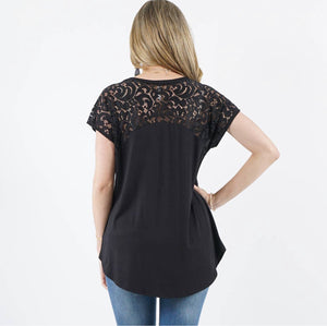 Black 42pops Lace Sleeve Tunic
