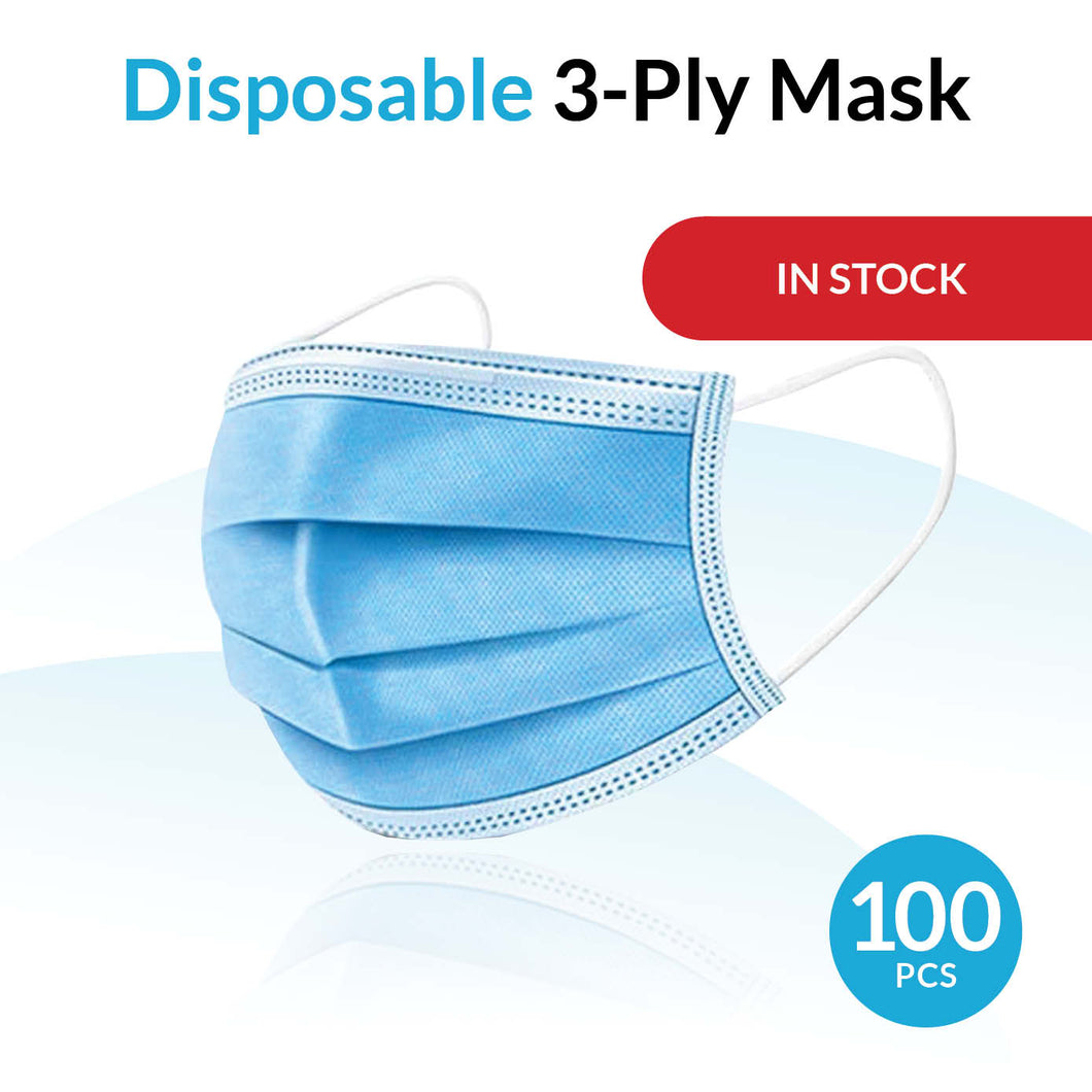 Disposable Breathable 3-Ply Mask - 100 Pack