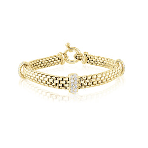 14K Italian Gold Vermeil Cable Link Bracelet  with 3 Cubic Zirconia Roundels