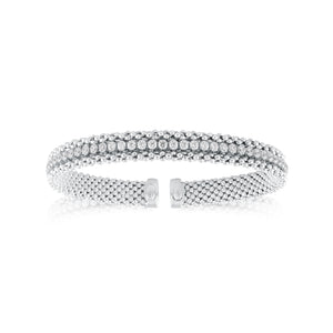 Italian Bangle with Cubic Zirconia Baguette Detail