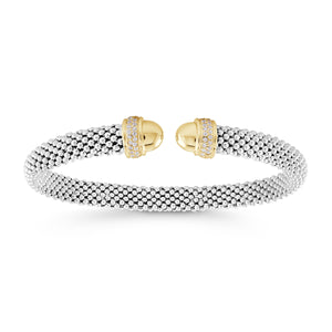 Italian Pop Cuff With Cubic Zirconia Detail Edge