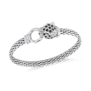 Sterling Silver Italian Panther Bangle Cubic Zirconia Detail