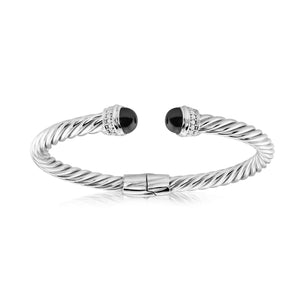 Sterling Twisted Italian Cuff with Black Onyx and Cubic Zirconia Detail