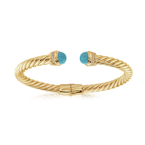 14K Gold Vermeil Twisted Italian Cuff with Turquoise and Cubic Zirconia Detail