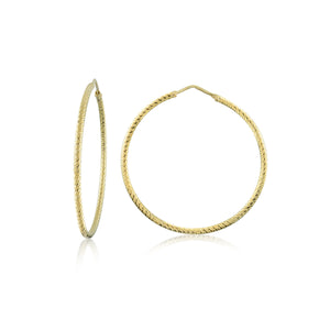 14K Gold Vermeil Medium Diamond Cut Hoops