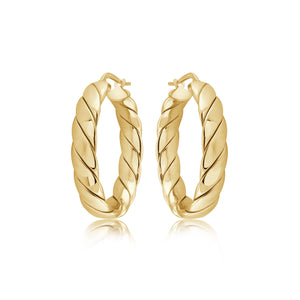 14K Gold Vermeil Medium Chanel Hoops