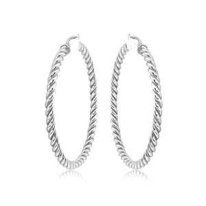 Large Sterling Twisted Hoops