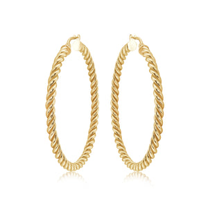 Large 14k Gold Vermeil Twisted Hoops