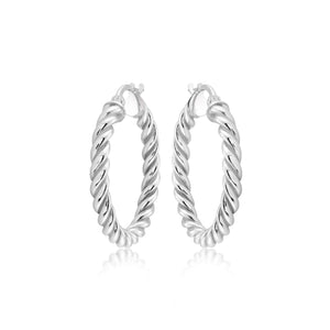 Small Sterling Twisted Hoops