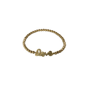 3mm 14K Gold Filled Cursive LOVE Beaded Bracelet