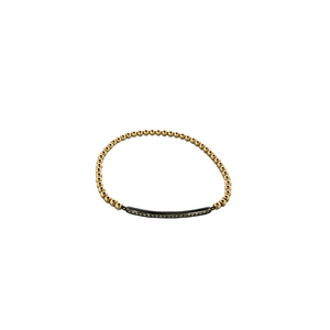 3mm 14K Gold Filled Beaded Bracelet with Oxidized Silver Cubic Zirconia Bar