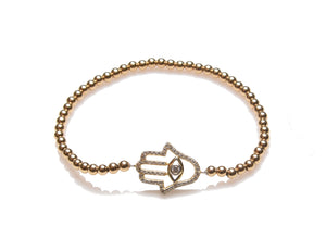 3mm 14K Gold Filled Hamsa Evil Eye Bracelet