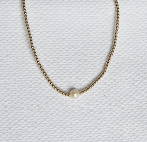 3mm 14K Gold Filled Beaded Choker with Pearl