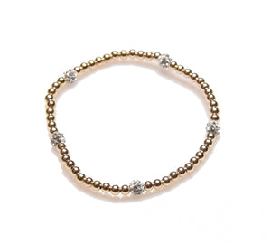 3mm 14K Gold Filled Small Multi Fireball Beaded Bracelet