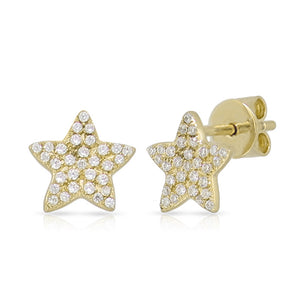 Gold Cubic Zirconia Star Studs