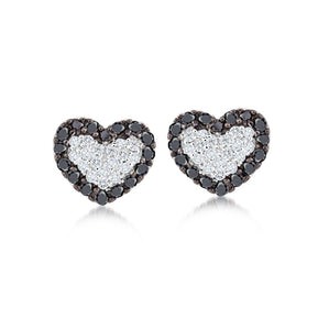 Black and White Heart Studs
