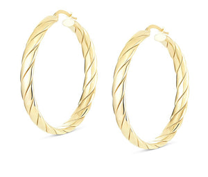 14K Gold Vermeil Large Chanel Hoops