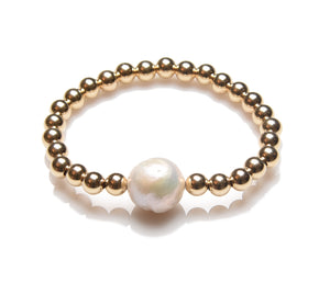 5mm 14K Gold Filled with 1 Large Pearl Beaded Bracelet