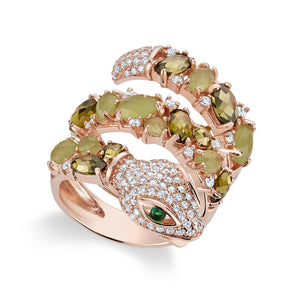 Rosegold Green Snake Ring