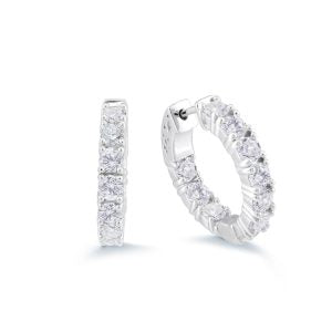 White CZ Medium Hoops
