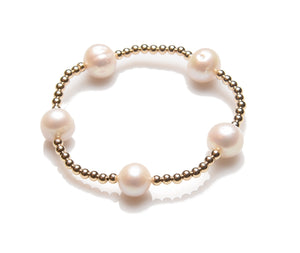 3mm 14K Gold Filled Small Multi Pearl Beaded Bracelet