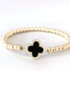 4mm 14K Gold Filled Black Clover with Cubic Zirconia Beaded Bracelet