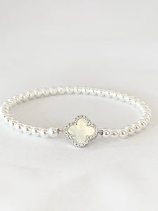 4mm Sterling Silver Pearl Clover with Cubic Zirconia Beaded Bracelet
