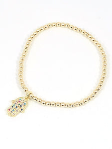 3mm Gold Filled Beaded Bracelet with Hanging Rainbow Hamsa