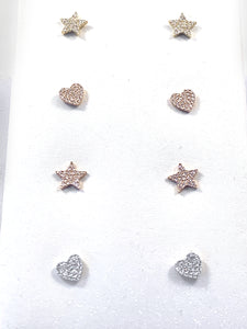 Heart or Star Diamond Stud Earrings 0.10ct of Diamond