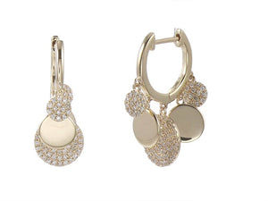 Diamond Disk 14K Gold Huggie Earrings with 1/2 ct of Diamonds