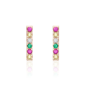 Gold Rainbow Cubic Zirconia Bar Studs
