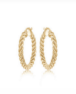 Small 14k Gold vermeil twisted hoops