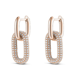 14K Rose Gold Vermeil Cubic Zirconia Double Paperclip Earrings