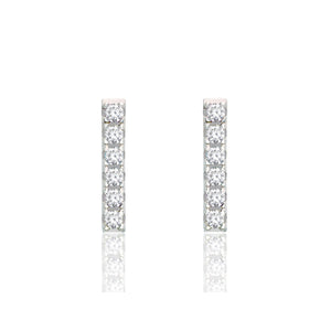Sterling Cubic Zirconia Bar Studs