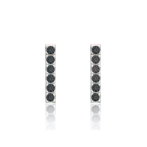 Sterling Black Cubic Zirconia Bar Studs