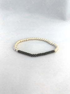 3mm 14K Gold Filled Black Spinel Beaded Bracelet