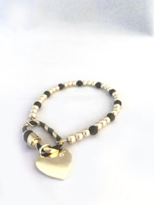 4mm Blk Onyx and 14K Gold Filled Beaded Bracelet with Black/Gold Carabiner & Gold Hanging Heart