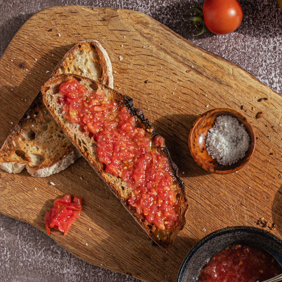 That perfect crunch: tomato passata bruschetta