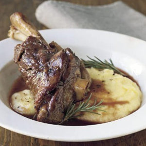 Slow Roast Organic Lamb shank with Garlic & Rosemary