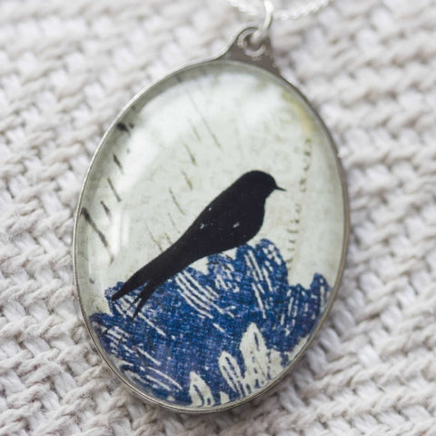 Perched Black Bird Oval Handmade Pendant Necklace