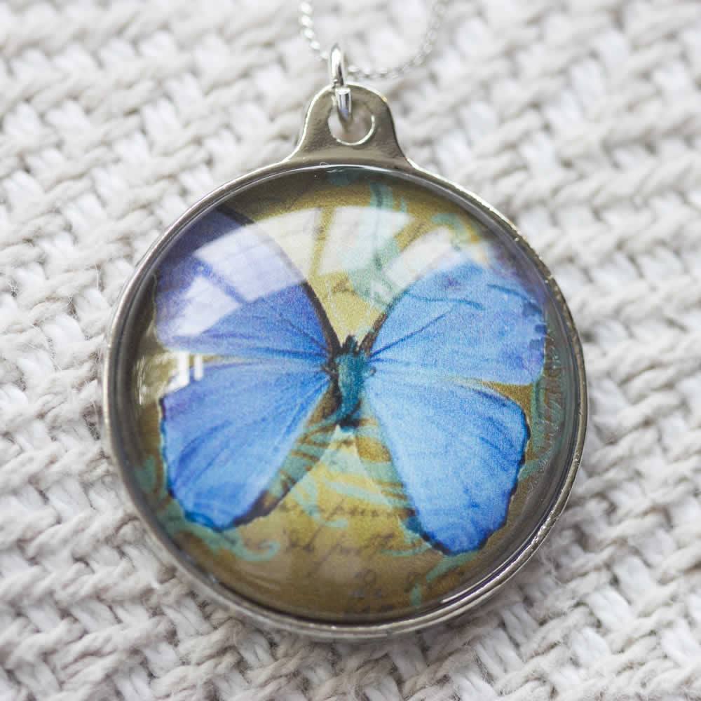 Blue Butterfly Handmade Glass Pendant Necklace-front