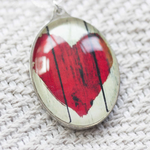Red Heart Handmade Glass Pendant Necklace