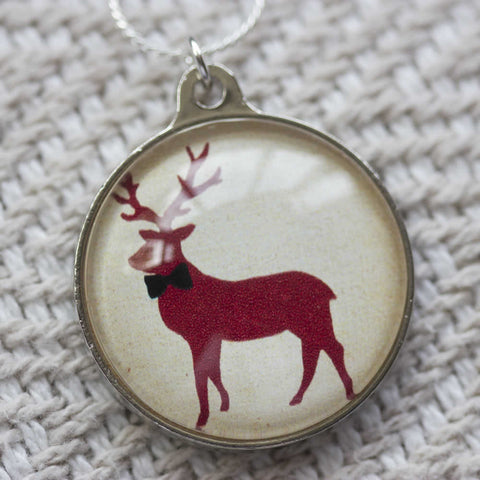 Red Stag Handmade Glass Pendant Necklace