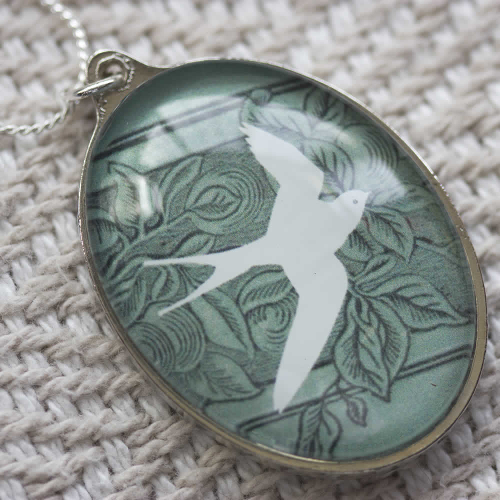 White Swallow Oval Handmade Glass Pendant Necklace-front